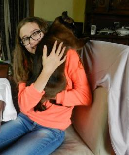 Emeline and our cat Puss Puss